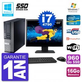 """PC Dell 9020 SFF Ecran 22"""" Intel i7-4790 RAM 16Go SSD 960Go Graveur DVD Wifi W7"""