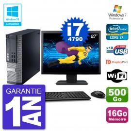 """PC Dell 9020 SFF Ecran 27"""" Intel i7-4790 RAM 16Go Disque 500Go Graveur DVD Wifi W7"""