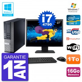 "PC Dell 9020 SFF Ecran 27"" Intel i7-4790 RAM 16Go Disque 1To Graveur DVD Wifi W7"