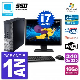"""PC Dell 9020 SFF Ecran 27"""" Intel i7-4790 RAM 16Go SSD 240Go Graveur DVD Wifi W7"""