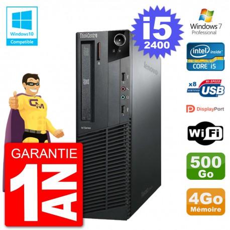 PC Lenovo ThinkCentre M82 SFF i5-2400 RAM 4Go Disque 500Go Graveur DVD Wifi W7