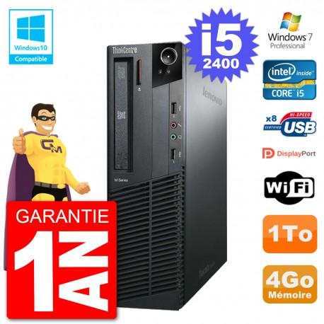 PC Lenovo ThinkCentre M82 SFF i5-2400 RAM 4Go Disque Dur 1To Graveur DVD Wifi W7