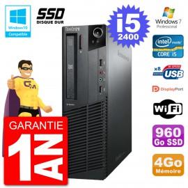 PC Lenovo ThinkCentre M82 SFF i5-2400 RAM 4Go SSD 960Go Graveur DVD Wifi W7