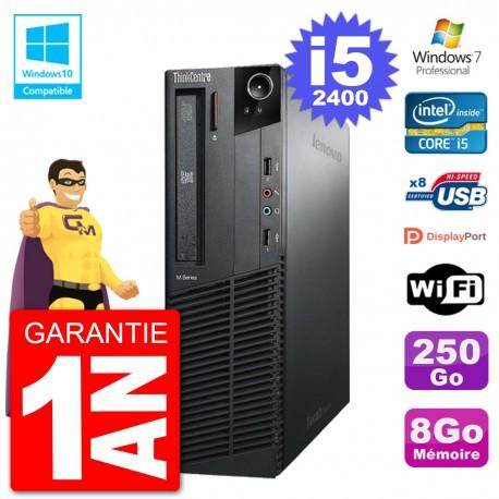 PC Lenovo ThinkCentre M82 SFF i5-2400 RAM 8Go Disque 250Go Graveur DVD Wifi W7