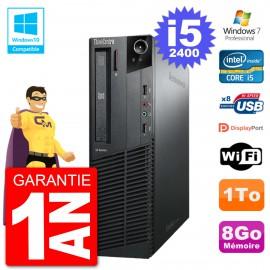 PC Lenovo ThinkCentre M82 SFF i5-2400 RAM 8Go Disque Dur 1To Graveur DVD Wifi W7