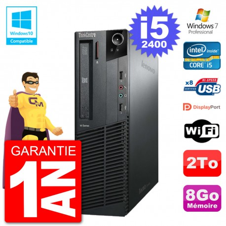 PC Lenovo ThinkCentre M82 SFF i5-2400 RAM 8Go Disque Dur 2To Graveur DVD Wifi W7