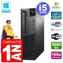 PC Lenovo ThinkCentre M82 SFF i5-2400 RAM 16Go Disque 500Go Graveur DVD Wifi W7