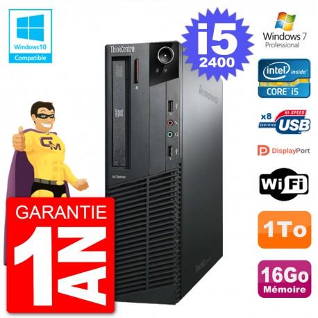 PC Lenovo ThinkCentre M82 SFF i5-2400 RAM 16Go Disque 1To Graveur DVD Wifi W7