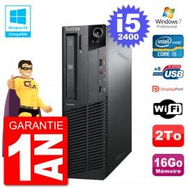 PC Lenovo ThinkCentre M82 SFF i5-2400 RAM 16Go Disque 2To Graveur DVD Wifi W7
