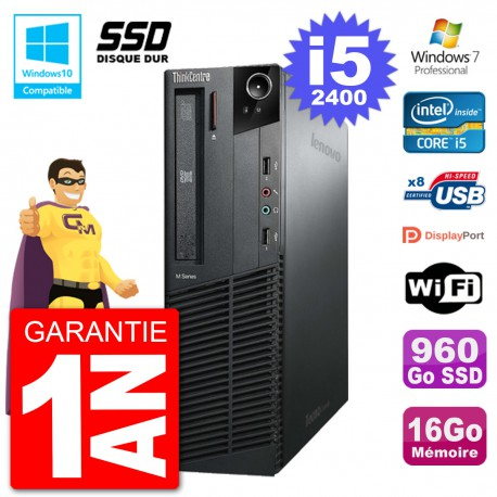 PC Lenovo ThinkCentre M82 SFF i5-2400 RAM 16Go SSD 960Go Graveur DVD Wifi W7