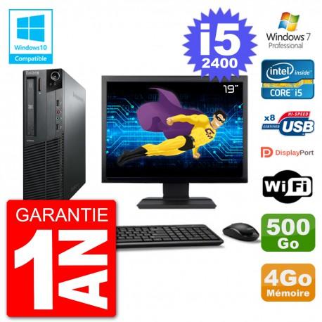 "PC Lenovo M82 SFF Ecran 19"" i5-2400 RAM 4Go Disque 500Go Graveur DVD Wifi W7"