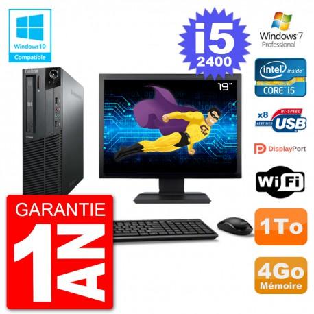 "PC Lenovo M82 SFF Ecran 19"" i5-2400 RAM 4Go Disque 1To Graveur DVD Wifi W7"