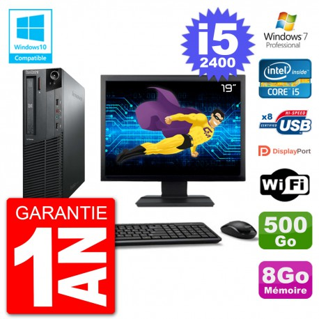 "PC Lenovo M82 SFF Ecran 19"" i5-2400 RAM 8Go Disque 500Go Graveur DVD Wifi W7"