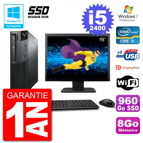 "PC Lenovo M82 SFF Ecran 19"" i5-2400 RAM 8Go SSD 960Go Graveur DVD Wifi W7"