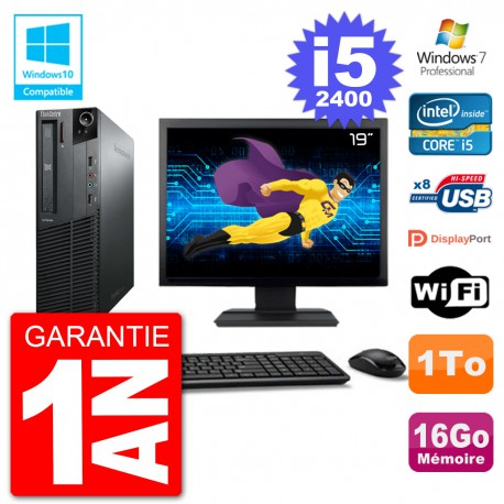 "PC Lenovo M82 SFF Ecran 19"" i5-2400 RAM 16Go Disque 1To Graveur DVD Wifi W7"