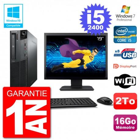 "PC Lenovo M82 SFF Ecran 19"" i5-2400 RAM 16Go Disque 2To Graveur DVD Wifi W7"