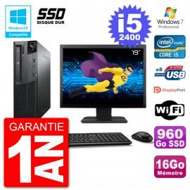 "PC Lenovo M82 SFF Ecran 19"" i5-2400 RAM 16Go SSD 960Go Graveur DVD Wifi W7"