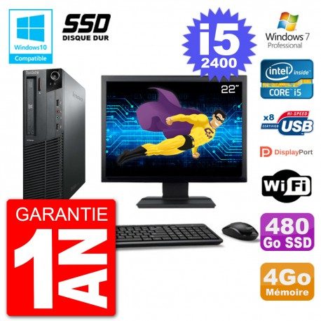 "PC Lenovo M82 SFF Ecran 22"" i5-2400 RAM 4Go SSD 480Go Graveur DVD Wifi W7"