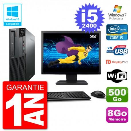 "PC Lenovo M82 SFF Ecran 22"" i5-2400 RAM 8Go Disque 500Go Graveur DVD Wifi W7"