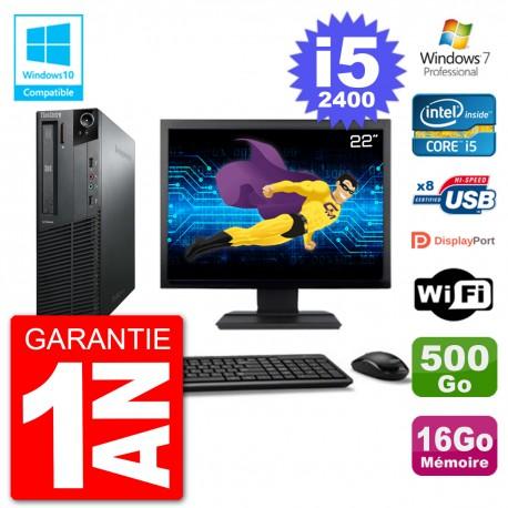 "PC Lenovo M82 SFF Ecran 22"" i5-2400 RAM 16Go Disque 500Go Graveur DVD Wifi W7"