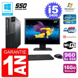 "PC Lenovo M82 SFF Ecran 22"" i5-2400 RAM 16Go SSD 960Go Graveur DVD Wifi W7"