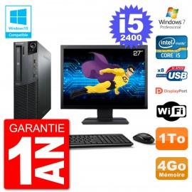 "PC Lenovo M82 SFF Ecran 27"" i5-2400 RAM 4Go Disque 1To Graveur DVD Wifi W7"