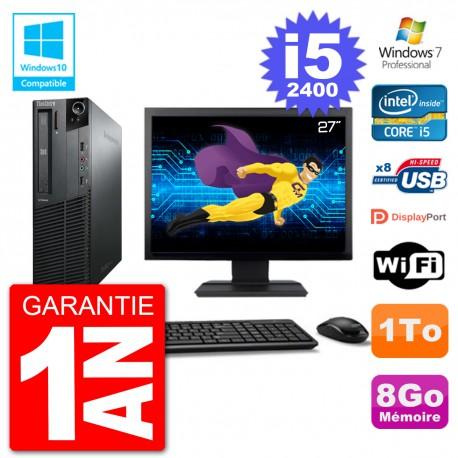 "PC Lenovo M82 SFF Ecran 27"" i5-2400 RAM 8Go Disque 1To Graveur DVD Wifi W7"
