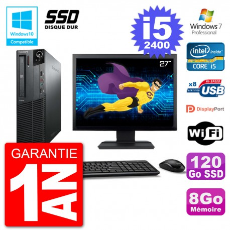 "PC Lenovo M82 SFF Ecran 27"" i5-2400 RAM 8Go SSD 120Go Graveur DVD Wifi W7"