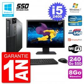"PC Lenovo M82 SFF Ecran 27"" i5-2400 RAM 8Go SSD 240Go Graveur DVD Wifi W7"