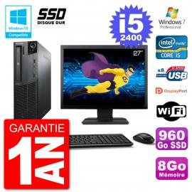 "PC Lenovo M82 SFF Ecran 27"" i5-2400 RAM 8Go SSD 960Go Graveur DVD Wifi W7"