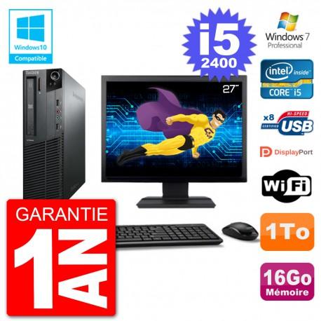 "PC Lenovo M82 SFF Ecran 27"" i5-2400 RAM 16Go Disque 1To Graveur DVD Wifi W7"
