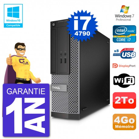 PC Dell 3020 SFF Intel i7-4790 RAM 4Go Disque 2To Graveur DVD Wifi W7