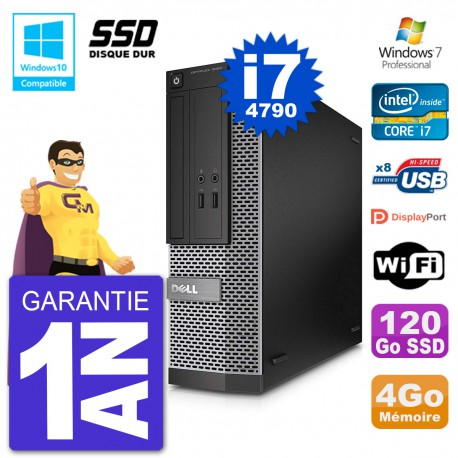 PC Dell 3020 SFF Intel i7-4790 RAM 4Go SSD 120Go Graveur DVD Wifi W7