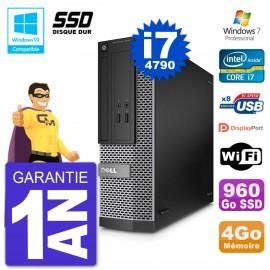 PC Dell 3020 SFF Intel i7-4790 RAM 4Go SSD 960Go Graveur DVD Wifi W7