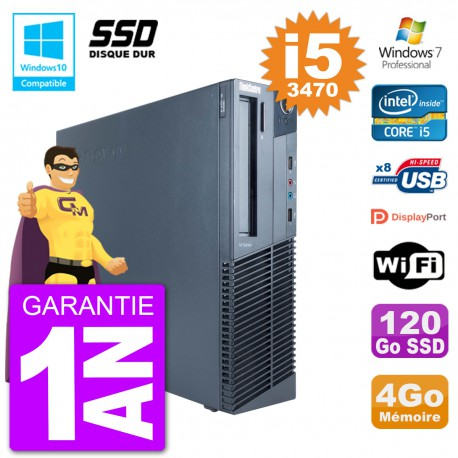 PC Lenovo ThinkCentre M82 SFF i5-3470 RAM 4Go SSD 120Go Graveur DVD Wifi W7