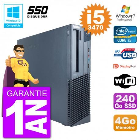 PC Lenovo ThinkCentre M82 SFF i5-3470 RAM 4Go SSD 240Go Graveur DVD Wifi W7