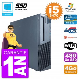 PC Lenovo ThinkCentre M82 SFF i5-3470 RAM 4Go SSD 480Go Graveur DVD Wifi W7
