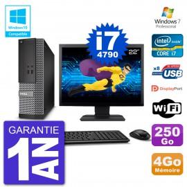 """PC Dell 3020 SFF Ecran 22"""" Intel i7-4790 RAM 4Go Disque 250Go Graveur DVD Wifi W7"""