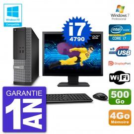 """PC Dell 3020 SFF Ecran 22"""" Intel i7-4790 RAM 4Go Disque 500Go Graveur DVD Wifi W7"""
