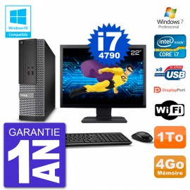 "PC Dell 3020 SFF Ecran 22"" Intel i7-4790 RAM 4Go Disque 1To Graveur DVD Wifi W7"