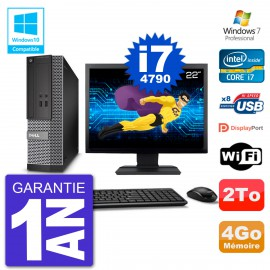 "PC Dell 3020 SFF Ecran 22"" Intel i7-4790 RAM 4Go Disque 2To Graveur DVD Wifi W7"