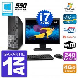 """PC Dell 3020 SFF Ecran 22"""" Intel i7-4790 RAM 4Go SSD 240Go Graveur DVD Wifi W7"""