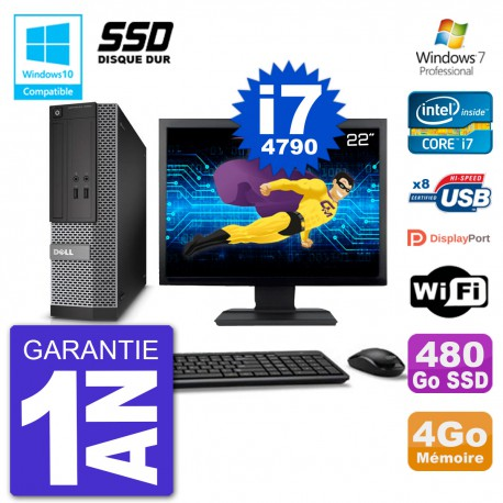 """PC Dell 3020 SFF Ecran 22"""" Intel i7-4790 RAM 4Go SSD 480Go Graveur DVD Wifi W7"""
