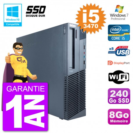 PC Lenovo ThinkCentre M82 SFF i5-3470 RAM 8Go SSD 240Go Graveur DVD Wifi W7