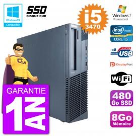 PC Lenovo ThinkCentre M82 SFF i5-3470 RAM 8Go SSD 480Go Graveur DVD Wifi W7