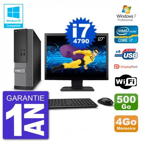 """PC Dell 3020 SFF Ecran 27"""" Intel i7-4790 RAM 4Go Disque 500Go Graveur DVD Wifi W7"""