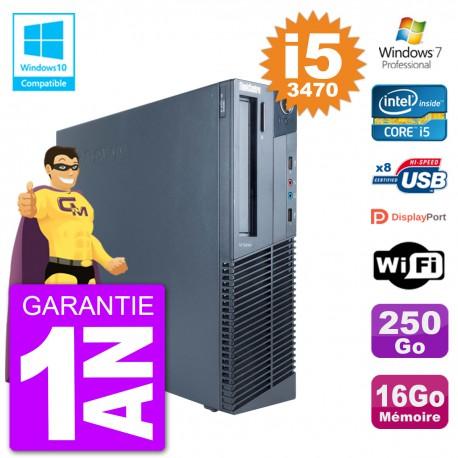 PC Lenovo ThinkCentre M82 SFF i5-3470 RAM 16Go Disque 250Go Graveur DVD Wifi W7