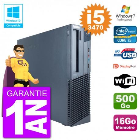 PC Lenovo ThinkCentre M82 SFF i5-3470 RAM 16Go Disque 500Go Graveur DVD Wifi W7