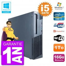 PC Lenovo ThinkCentre M82 SFF i5-3470 RAM 16Go Disque 1To Graveur DVD Wifi W7