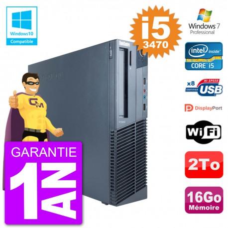PC Lenovo ThinkCentre M82 SFF i5-3470 RAM 16Go Disque 2To Graveur DVD Wifi W7